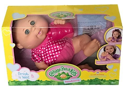 Cabbage Patch Kids Drink N' Wet Newborn Baby Doll Polka Dot by