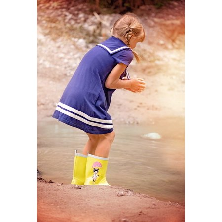 LAMINATED POSTER Water Person Human Out Rubber Boots Child Girl Poster Print 24 x