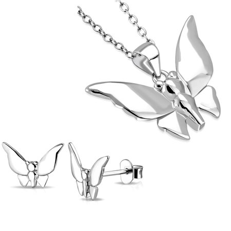 - 925 Sterling Silver Polished Butterfly Pendant Necklace Stud Earrings Jewelry Set, 18