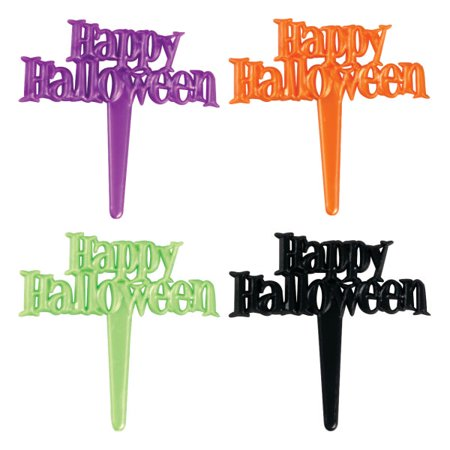 Happy Halloween Pearlized Cupcake Picks - 24 Count - National Cake Supply