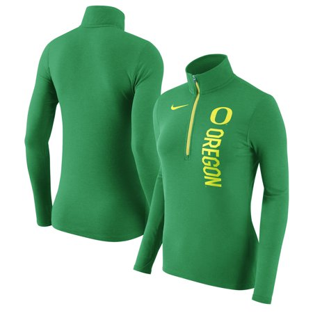 Oregon Ducks Nike Women's Dry Element Performance Quarter-Zip Pullover Jacket - Heathered Green ()