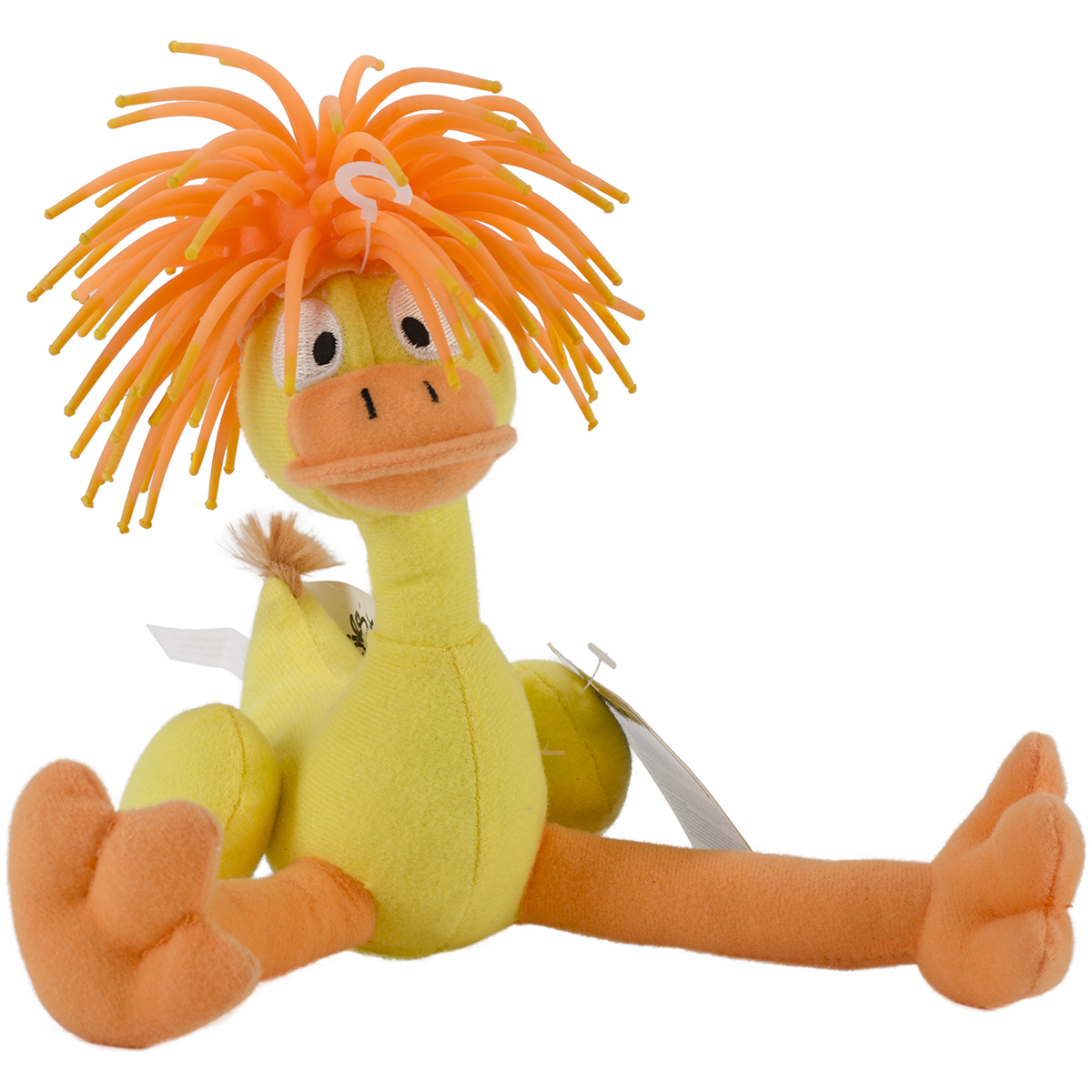 Zibbies 440-13 Dukduk 7 In. Plush Pet Toy With Crazy Hair and Squeaker - 2 Pack