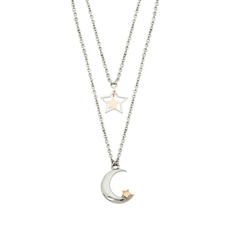 Connections from Hallmark Stainless Steel Moon & Stars Layered Necklace (Layering Necklace)