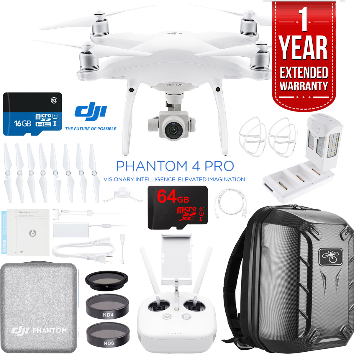 DJI Phantom 4 Pro Quadcopter Drone with Battery Charging Hub, Carbon Fiber Hardshell... by DJI