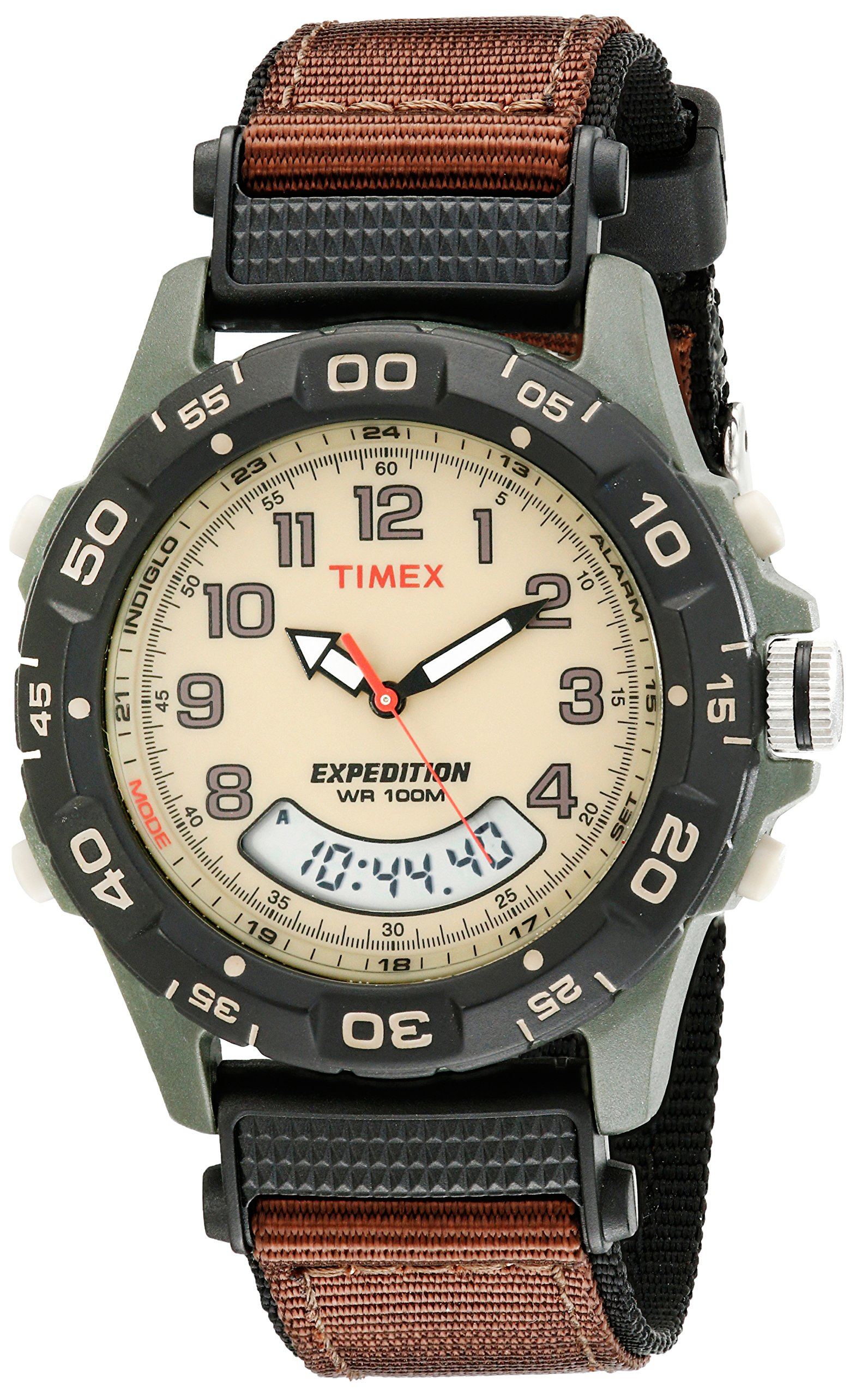 Timex Men's Expedition Combo Watch, Brown Nylon Strap by Timex