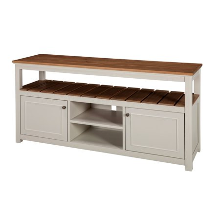 Savannah TV Cabinet, Ivory with Natural Wood Top