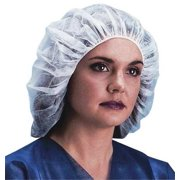 KEYSTONE 110NWI-10-24 WHITE Bouffant Cap,24in,White,PP,PK1000