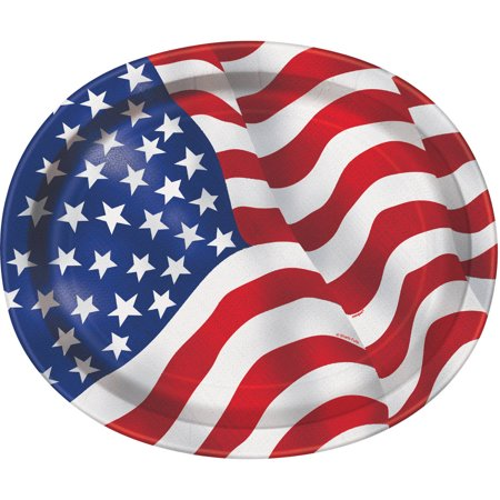 US American Flag Paper Oval Plates, 12in, 8ct (Oval Paper Plates)