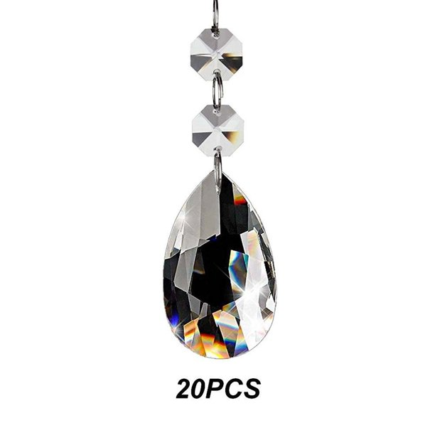 Fushing 20pcs Chandelier Crystals, Chandelier Replacement Glass Beads