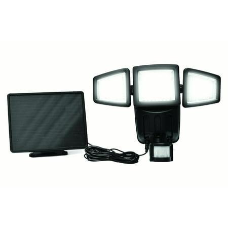 182 LED Triple-head Solar Motion Sensor Security Flood Light 1000Lumens-Black