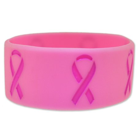 PinMart's Pink- Breast Cancer Awareness Ribbon Wide Rubber Silicone (Breast Cancer Silicone Bracelets)