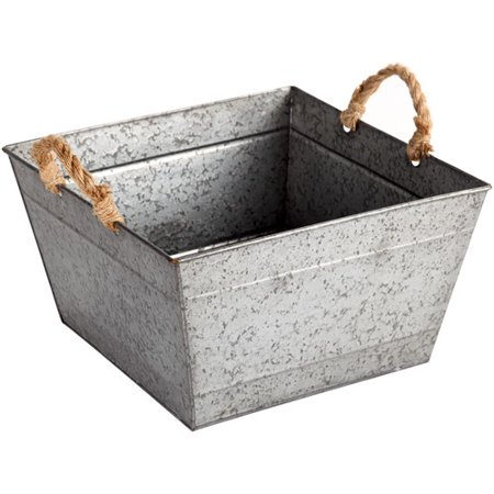 Better homes and gardens large square tapered galvanized bin silver for Better homes and gardens storage bins