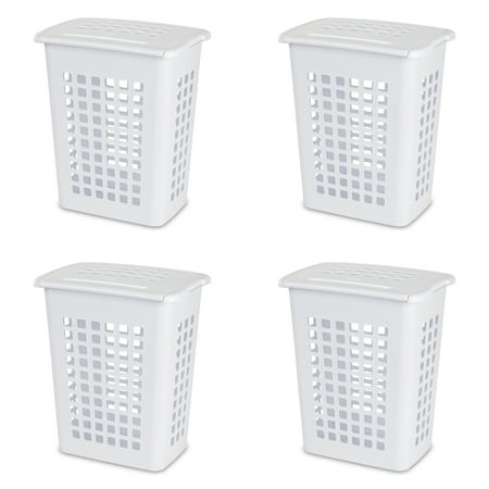 Sterilite Rectangular Laundry Hamper, White, Set of 4 ()