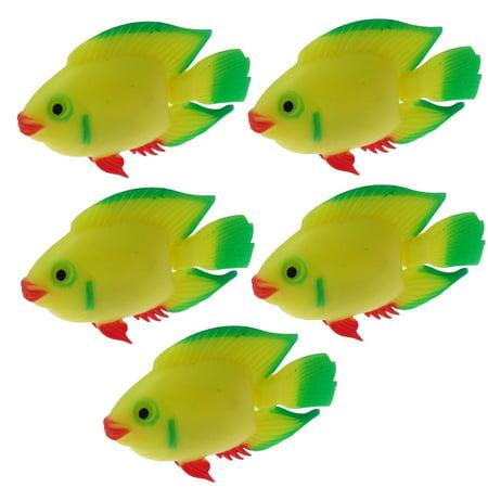 5PCS Green Yellow Plastic Swimming Fish Tank Decoration