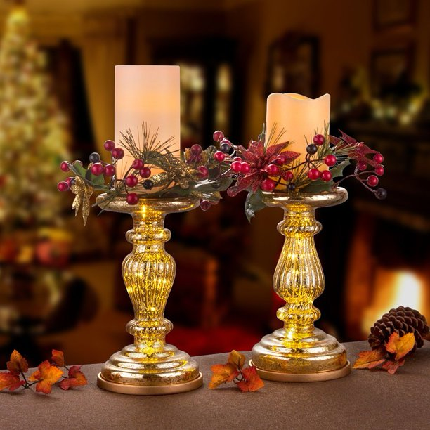 Mercury Glass Table Decor Accents Set Of 2 8 5 Lit Pillar Candle Holder With Timer For Home And Church Decoration Gold Walmart Com Walmart Com