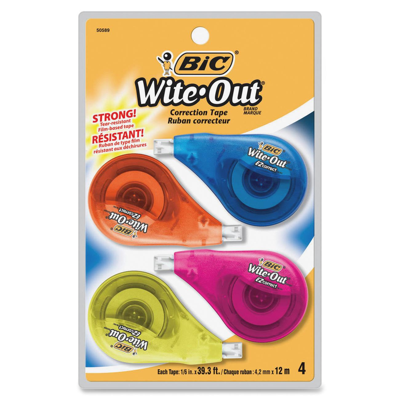"Bic Wite-Out EZ Correct Correction Tape, Non-Refillable, 1/6"" x 400"", 4-Count"