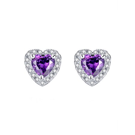 Devuggo Sterling Silver Heart Shaped Simulated Amethyst Stud Earrings for Women