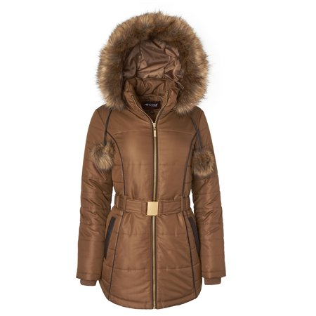 Sportoli Women's Down Alternative Long Belted Puffer Coat with Fur Trim Detachable Hood - Antique (X-Large)