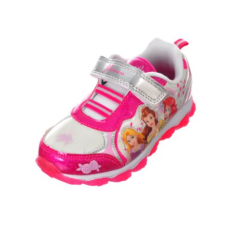 Disney Princess Girls' Light-Up Sneakers Featuring Ariel, Belle, and Rapunzel (Sizes 6 - - Disney Princess Shoe Boutique