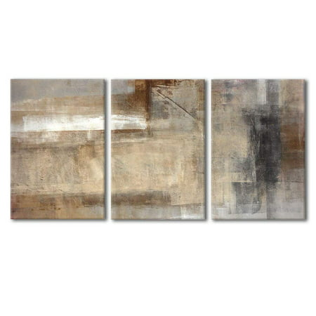 "wall26 - Brown and Beige Painting - Canvas Art Wall Decor - 24""x36""x3 Panels"