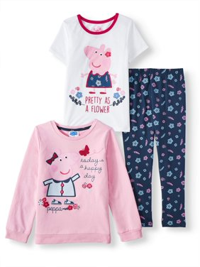 Peppa Pig Graphic Sweatshirt, Tee and Printed Legging, 3-Piece Outfit Set (Little Girls)