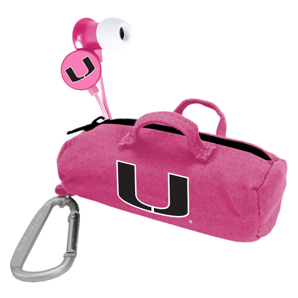 Miami Hurricanes Pink Scorch Earbuds with BudBag