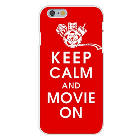 Apple iPhone 6+ (Plus) Custom Case White Plastic Snap On - Keep Calm and Movie On w/ Movie Reel, Popcorn, Ticket, & Beverage on Red