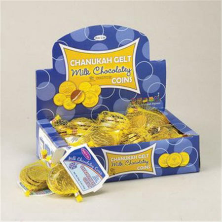 (4 Pack) Hanukkah Gelt Milk Chocolate Coins (Each) - Party Supplies - Coin Chocolate