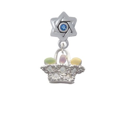 Easter Egg Bead - Easter Egg Basket - Star of David with Blue Crystal Charm Bead
