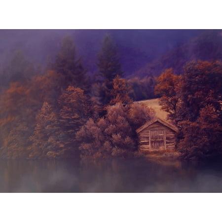 LAMINATED POSTER Log Cabin Painting Lake Hut Landscape Image Paint Poster Print 24 x 36 Log Cabin Decor