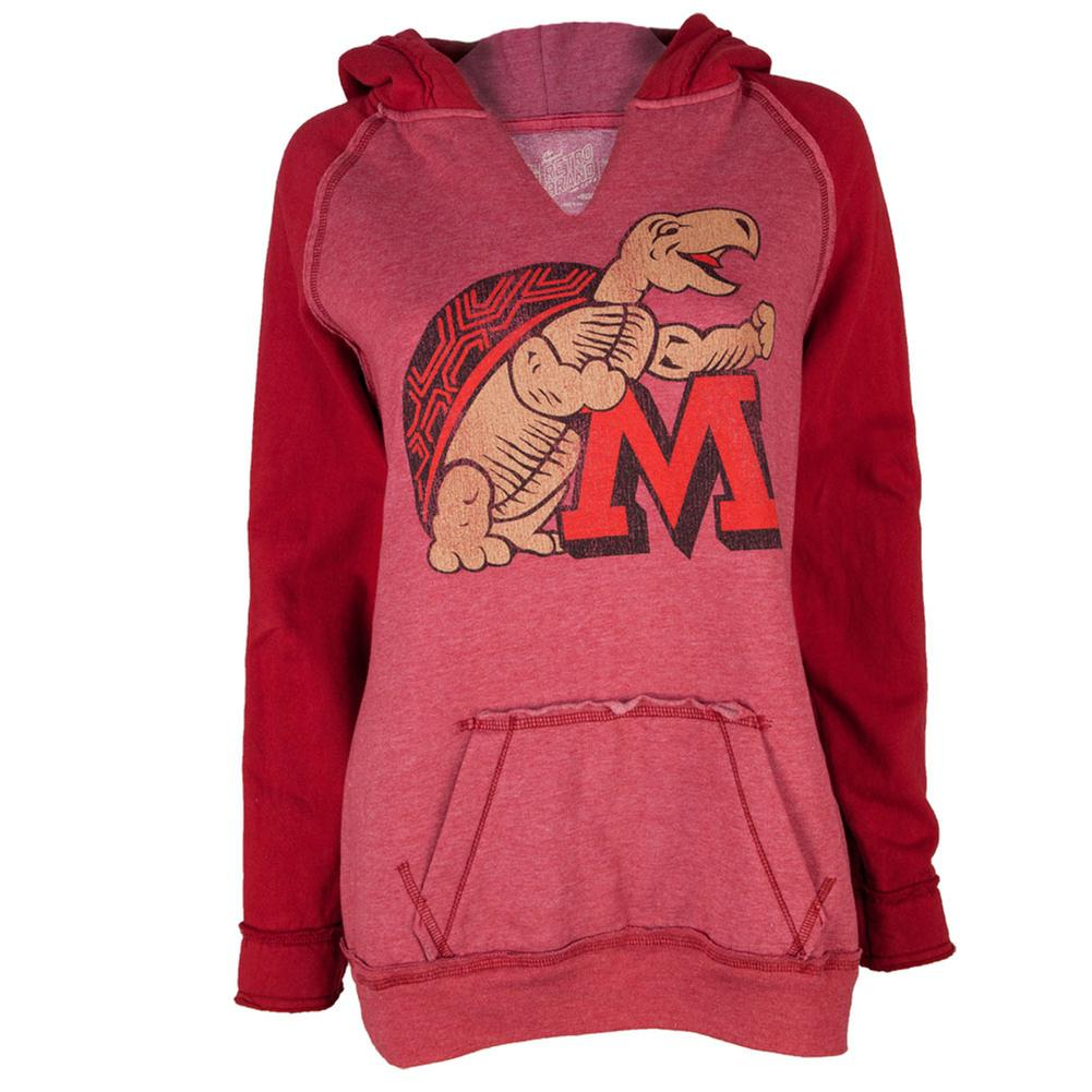 Maryland Terrapins - Large Distressed Mascot Juniors Relaxed Slit-Neck Hoodie