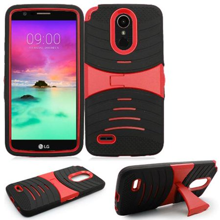 Phone Case For Virgin Mobile LG Stylo 3  (Boost Mobile) / LG Stylo 3 Plus Armor Heavy Duty Cover Stand (Armor Black Skin-Red Stand) ()