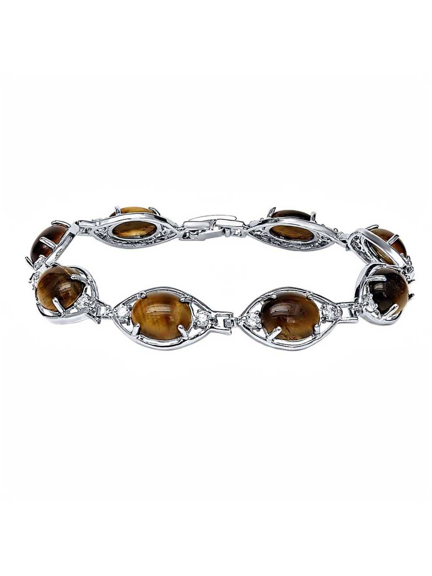 Beautiful Brown Tiger Eye Stone and Cubic Zirconia CZ 7 Inch Bracelet