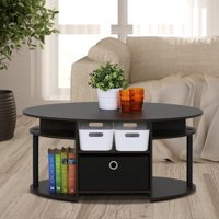 Furinno JAYA Simple Design Oval Coffee Table with Bin, Walnut