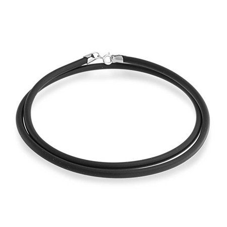Black Rubber Necklace Pendant Cord For Women For Men Teens Silver Plated Lobster Claw Clasp