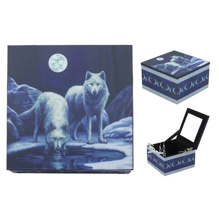 Ebros Moonlit Night With Snow Wolves By Prairie Watering Hole Mirror Jewelry Box Woodlands Wolf Family Trinket Keepsake Personal Storage Accessory - Trinket Box