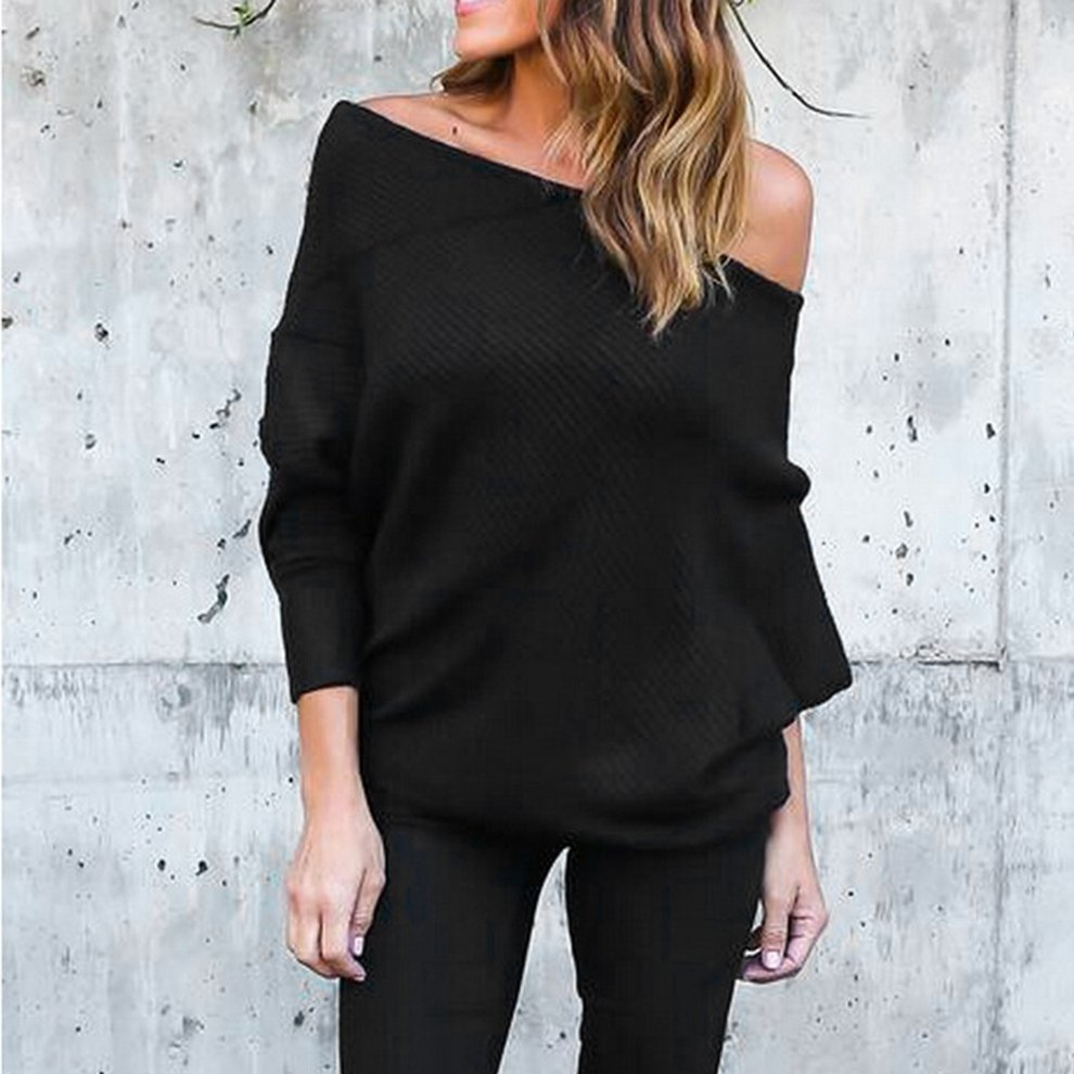 Sexy Strapless Bat Sleeve Off Shoulder Women Knitted Cardigan Sweater Shirts
