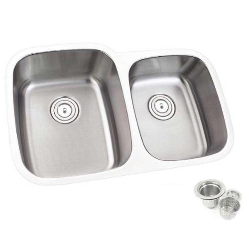 Contempo Living Inc 32inch Double 60/40 Bowl Undermount Stainless Steel  Kitchen Sink   Silver