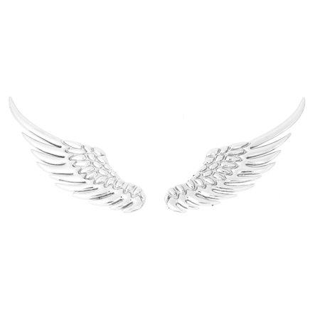 Unique Bargains 2 x Silver Tone Metal 3D Wings Design Sticker Badge Emblem for Car ()