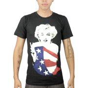Marilyn Monroe American Flag Graphic Design Printed Men's Casual T-shirt, Black