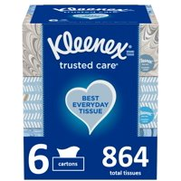 Kleenex Trusted Care Everyday Facial Tissues, 6 Flat Boxes (864 Total Tissue)