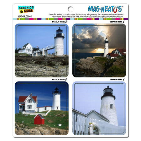 Maine Lighthouses Paintings - Portland Head Nubble Pemaquid Marshall Point MAG-NEATO'S(TM) Car/Refrigerator Magnet Set