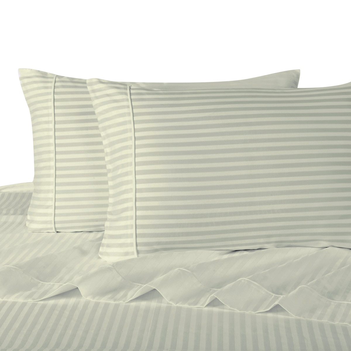 Attached Waterbed Sheets 100% Cotton 300 Thread Count Damask Striped- Queen - White