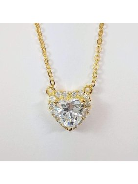 f02b321f5 Product Image ON SALE - Isabella 1CT Heart Halo IOBI Simulated Diamond  Solitaire Pendant Yellow Gold Plating. Feshionn IOBI