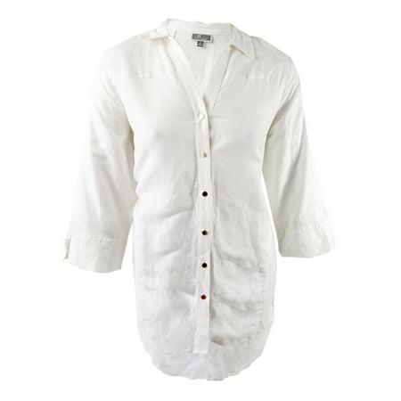 edc3eff75 JM Collection - Jm Collection Women s Plus Size Linen Tunic Shirt ...