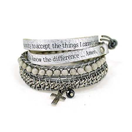 Serenity Prayer Leather Wrap Bracelet Woven Beads AA One Day At A Tim...