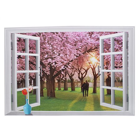 Unique bargains fake window sight design decor removable for Create a wall mural