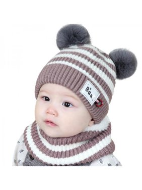 Fymall Kids Cute Knit Ear Caps+ Stripe Scarf Set Winter Warm