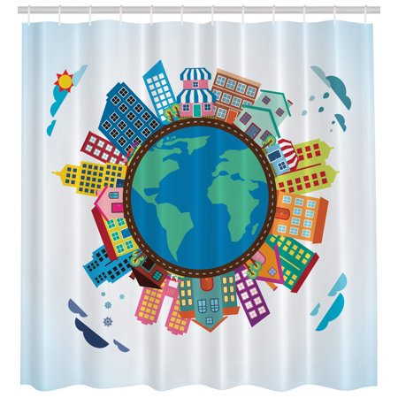 Houses on Earth Globe Clouds Bright Sky Art Decor Extra long Shower ...