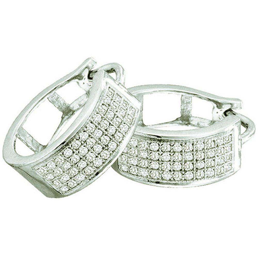 0.25 Carat (ctw) 10k White Gold Round Diamond Ladies Micro Pave Hoop Earrings